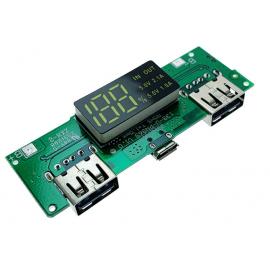 ماژول ساخت پاوربانک با نمایشگر دارای دو خروجی 5V 1A USB